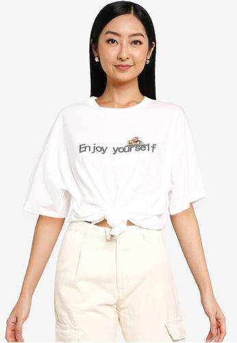 URBAN REVIVO white Casual T-Shirt 90EA1AAE59C102GS_1