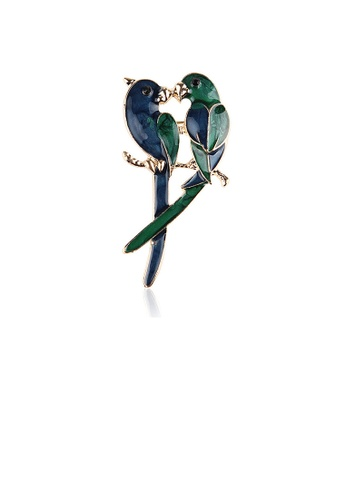 Glamorousky silver Simple and Fashion Plated Gold Enamel Double Parrot Brooch 99A7CAC1C69B0FGS_1