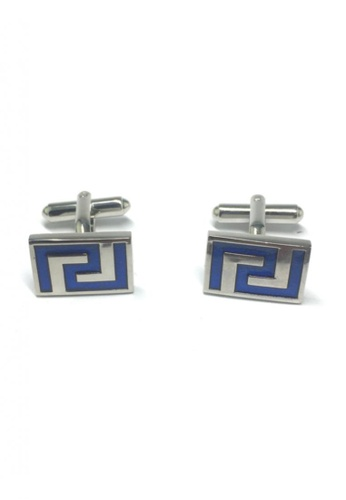 Splice Cufflinks blue and silver Blue Maze Pattern Rectangular Cufflinks SP744AC17FTASG_1