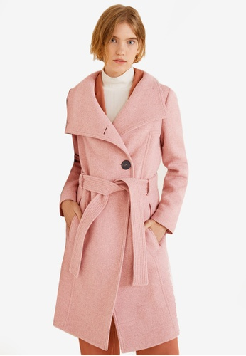Mango pink Belted Wool Coat BC836AACB117D4GS_1