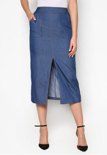 丹寧前開衩及膝短裙,esprit 品牌 服飾, 洋裝