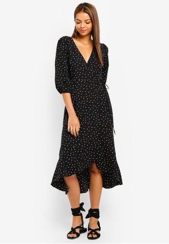6713dbddd089 Miss Selfridge black Petite Black Spot Midi Dress 5258AAA535B6BAGS_1
