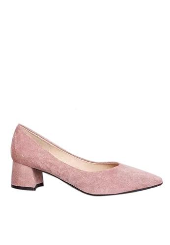 Twenty Eight Shoes 粉紅色 4.5CM尖頭絨面高踭鞋 999-1 E1EDDSH0B75BABGS_1