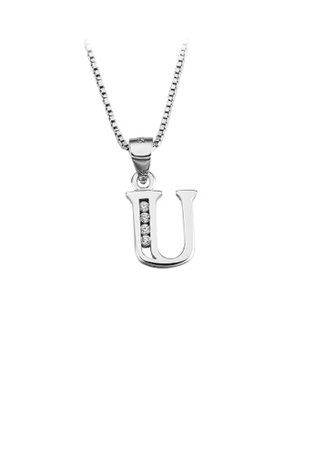 Glamorousky white 925 Sterling Silver Fashion Simple English Alphabet U Pendant with Cubic Zirconia and Necklace BDA40ACCBEB44FGS_1
