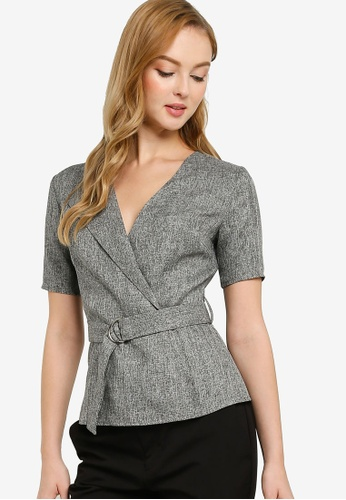 ZALORA WORK grey Wrap Top With Belt C4495AAB1C44CAGS_1