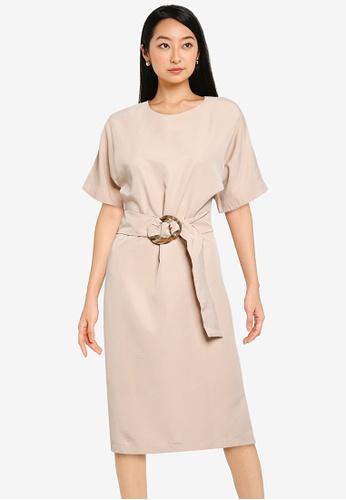 KOTON beige Belted Midi Dress 6A358AAAEFEDBCGS_1