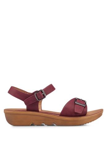 Noveni red Buckle Strap Sandals 768C7SHDAF2403GS_1