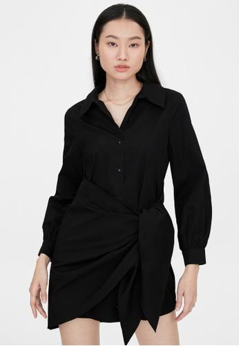 Pomelo black Bold Tie Front Button Up Dress - Black 1A6F2AA43E069FGS_1