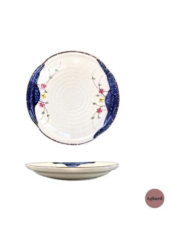 &glazed white and blue &Glazed Tokyo Gardens 10.1-Inch Large Round Plate 8637BHLF0352C2GS_1