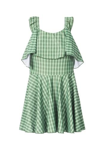 ZITIQUE green Women's Grid Pattern Cross-back One-piece Swimsuit - Green 2CC72USF66D89FGS_1