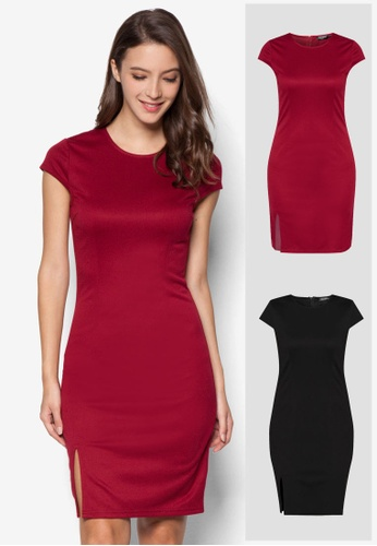 ZALORA black and red 2 Pack Basic Front Slit Bodycon Dress ZA919AA0IMJ4SG_1