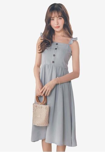 Yoco blue Ruffle-Sleeve Dress 56081AA2C0BFE9GS_1