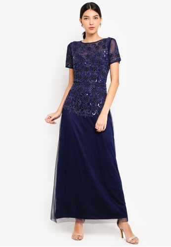 Little Mistress navy Navy Embel Maxi Dress 2FCAEAA2FED4BBGS_1
