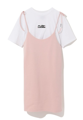 MUSIUM DIV pink Layered pinafore dress separates C72C4AA6C6ACFBGS_1