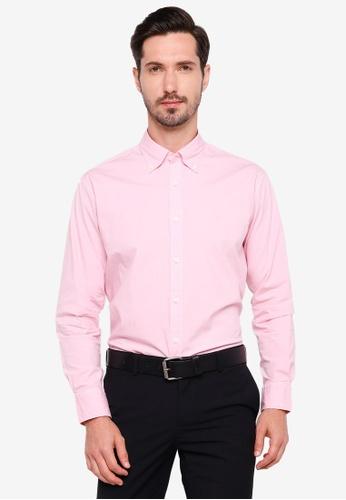 Sacoor Brothers pink Regular fit cotton elastane comfort poplin shirt in garment dye 365A6AA81C3D22GS_1