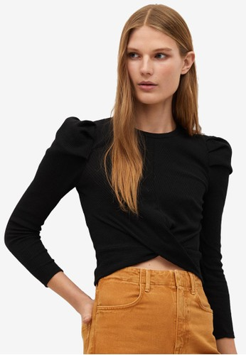 Mango black Ribbed Crop T-Shirt AFED8AAA94AD45GS_1