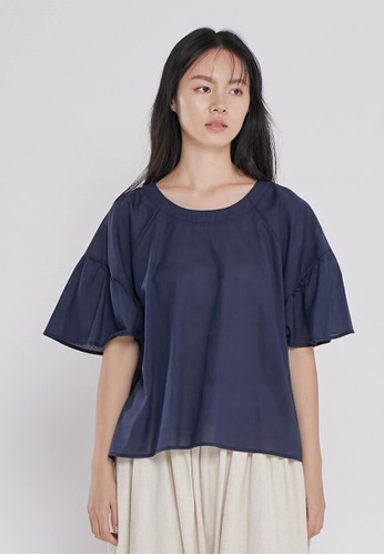 so that's me navy Ashley Round neck Lantern sleeves Top Navy B08CAAA9C20491GS_1