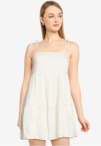 ABERCROMBIE & FITCH white Tie Strap Trapeze Mini Dress AF829AAFA2D9BAGS_1