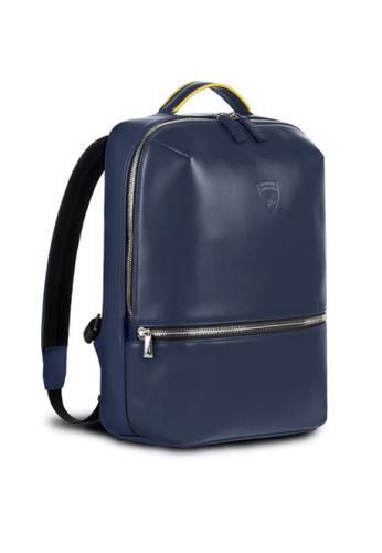 Lamborghini blue Automobili Lamborghini® Pure Blue Backpack Calf Leather Backpack Made in Italy 58547ACBCE38FFGS_1
