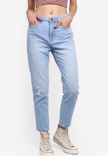 Something Borrowed 藍色 Contrast 鈕釦 牛仔褲 CA590AA417EC79GS_1