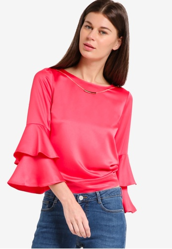 Dorothy Perkins red Red Ruffle Necklace Top DO816AA11PNOMY_1