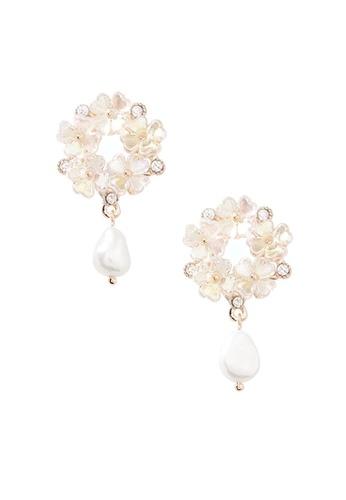 Fleur Jewelry pink Pearlescent Floral Dangles D4478AC8B718EFGS_1