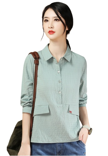 A-IN GIRLS green Simple Lapel Long Sleeve Blouse 01B15AABEDE8F8GS_1