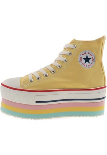 Maxstar 黃色 新款韩国鞋CN9-8H時尚帆布布混合女黃色 US Women Size MA345SH71HFWTW_1