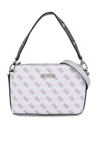 GUESS white and multi Washington Double Zip Crossbody Bag 8EA7FAC7EC4C2EGS_1