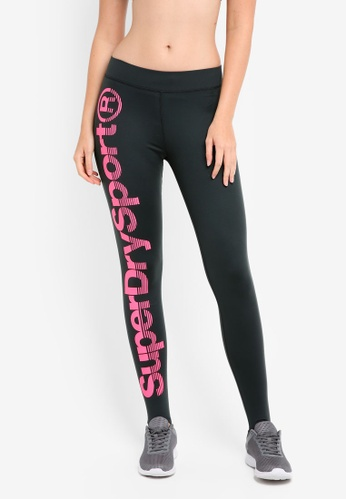 Superdry black and pink Sportmodel Legging SU137AA0T202MY_1