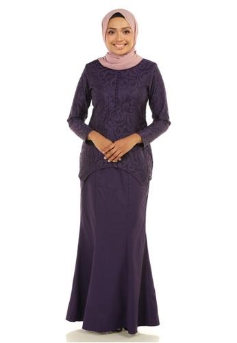 Ashura purple Melur Kurung With Curved Shape Hem 950C2AA549C7B6GS_1