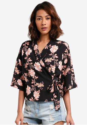 Cotton On black Kenzi Wrap Kimono Top CE4C7AA91D3EA1GS_1