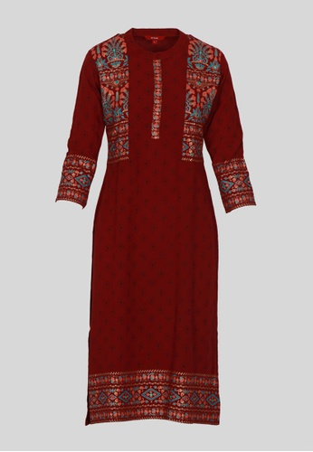 Le Reve red and multi LE REVE Women Maroon Long Tunic Pattern Kameez ABFBAAABCC9899GS_1