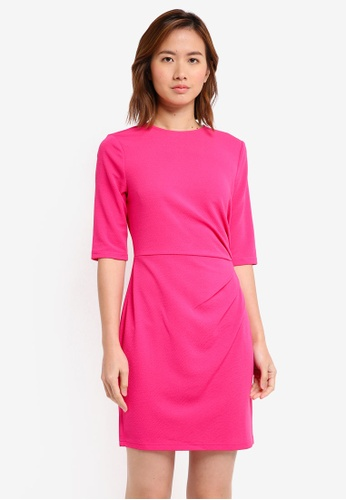 ZALORA pink Drape Pleated Dress 3C3E7AA751A87BGS_1