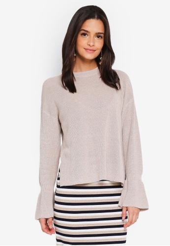 Zalia beige Knitted Flare Cuff Sweater ED66FAA906ECE8GS_1