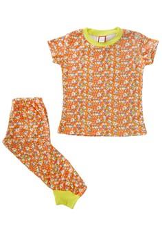 Orange Floral Pajama Set for Girls