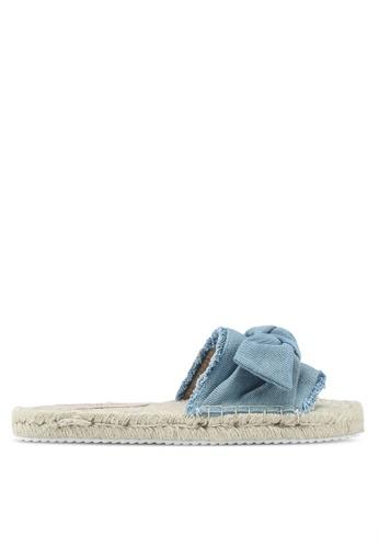Miss Selfridge 藍色 扭結丹寧拖鞋 364ECSH5BA069CGS_1