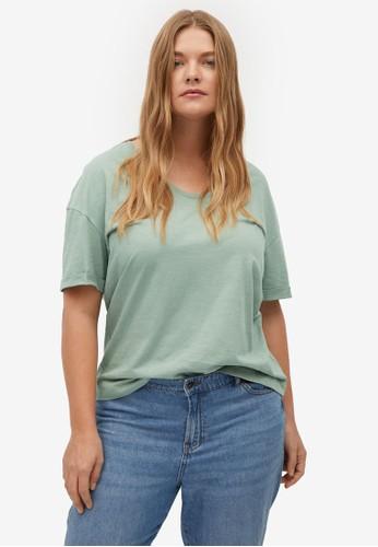 Violeta by MANGO green Plus Size Organic Cotton T-Shirt 3512EAABB1CDC6GS_1