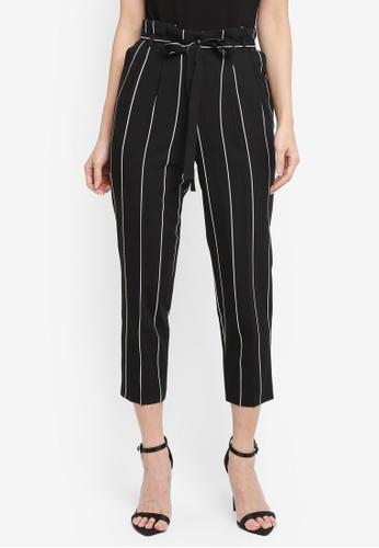Miss Selfridge black Petite Stripe Paper Bag Trousers A659AAA12E14ECGS_1