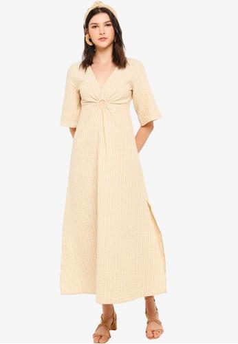 Tula Cruz yellow Plunge Neck Flare Sleeve Midi Dress 09577AA9A0EA03GS_1