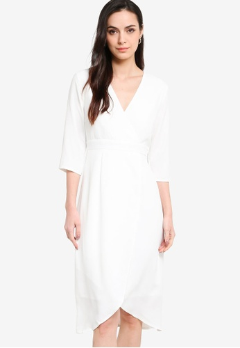 ZALORA WORK white Wrap Front Tulip Skirt Dress F5AF4AA6C66CEDGS_1