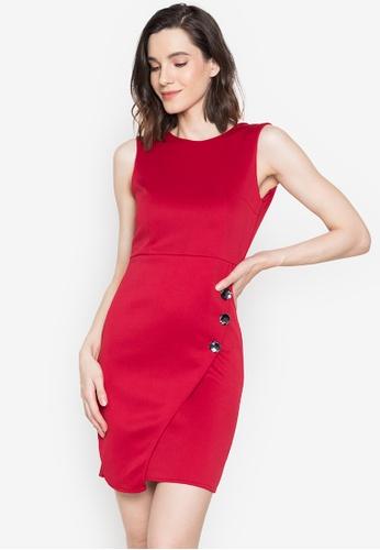 Hug red Camille S/L 3 Button Front Side Dress E387EAA5E3FCCBGS_1