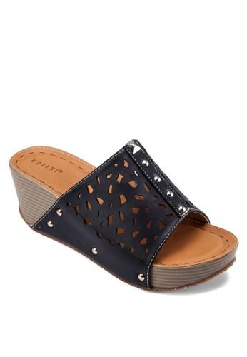 雕花鉚釘寬帶楔型跟涼鞋, 女鞋, 楔形esprit outlet 家樂福涼鞋