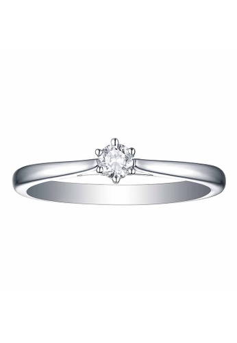 Smiling Rocks 白色 10K白金0.14克拉實驗室培植鑽石經典系列戒指 C087AAC6BADDBAGS_1