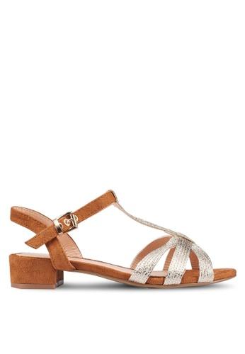 Carlton London 金色 麂皮金屬感涼鞋 D6BEASH165255AGS_1