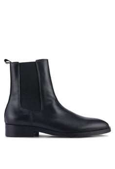 4ed060fecb3 Mango black Leather Chelsea Ankle Boots 84119SH1E81B28GS 1