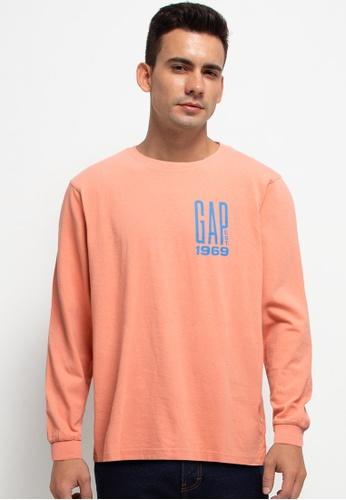 GAP orange Graphic Long Sleeves T-Shirt DC0BCAADF7D40CGS_1