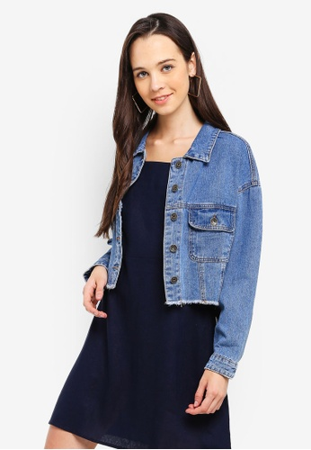 Cotton On blue Cropped Batwing Denim Jacket BE67FAAEC6B4F5GS_1