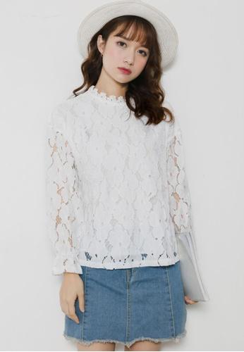 Shopsfashion Belt Sleeve Lace Top 2D678AA67A2288GS_1