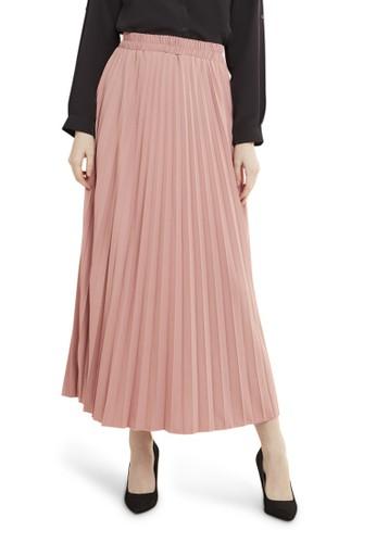 Evernoon pink Belsya Rok Panjang Skirt Plisket Lipit Regular Fit Bawahan Wanita - Dusty Pink A2410AA1883BE8GS_1
